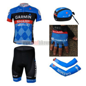 2013 Team GARMIN SHARP Cycling Set Jersey and Shorts+Bandana+Gloves+Arm Sleeves