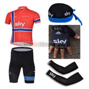 2013 Team SKY Cycling Set Jersey and Shorts+Bandana+Gloves+Arm Sleeves Red