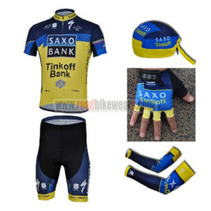 2013 Team Tinkoff SAXO BANK Cycling Set Jersey and Shorts+Bandana+Gloves+Arm Sleeves