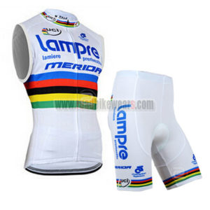 2014 Team Lampre MERIDA UCI Cycling Sleeveless Kit White Rainbow