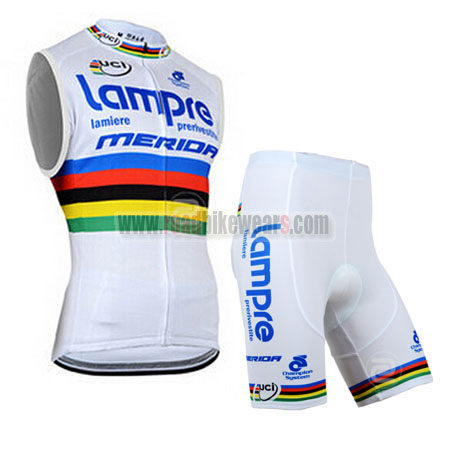 b72129cf5 2014 Team Lampre MERIDA UCI Champion Riding Clothing Training Sleeveless  Jersey and Padded Shorts Roupas Bicicleta White Rainbow
