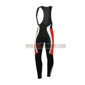 2015 Team Castelli Cycling Long Bib Pants Black Red