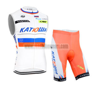 2015 Team KATUSHA Cycling Sleeveless Kit White