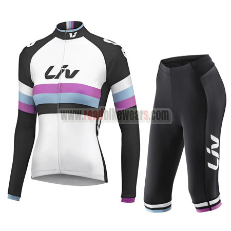 2015 Team Liv Women's Cycling Long Jersey + Capri Cropped Trousers White