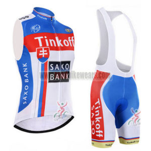 2015 Team Tinkoff SAXO BANK Cycle Clothing Bike Riding Sleeveless Jersey  and Padded Bib Shorts Roupas Bicicleta White Blue b190666c1