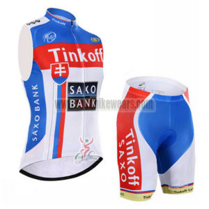 2015 Team Tinkoff SAXO BANK Cycling Sleeveless Kit White Blue Red