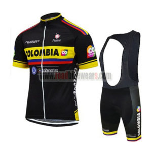 a285708cbde 2015 Team COLOMBIA Biking Outfit Cycle Jersey and Padded Bib Shorts Roupas  Bicicleta Black Yellow