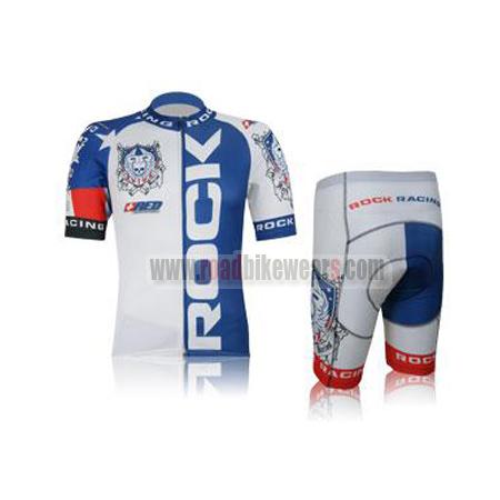 2012 Team ROCK RACING America Summer Winter Biking Wear Riding Jersey and Padded  Shorts Pants Roupas Bicicleta White Blue 765832665
