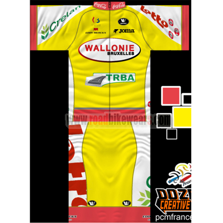 642b43439 2014 Team LOTTO WALLONIE TRBA Summer Winter Biking Outfit Cycle Jersey  Maillot and Padded Shorts Pants Roupas Bicicleta Yellow