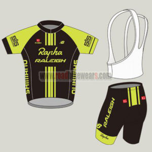 2015 Team Rapha RALEIGH Biking Uniform Cycle Jersey and Padded Bib Shorts  Roupas Bicicleta Black Yellow 078666cbb