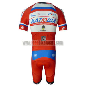 2013 Team KATUSHA Short Sleeves Triathlon Biking Clothing Skinsuit Red