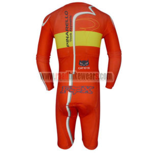 2013 Team PINARELLO Long Sleeves Triathlon Riding Apparel Skinsuit Red Yellow