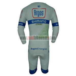 2014 Team Argos SHIMANO Long Sleeves Triathlon Riding Clothing Skinsuit White Blue
