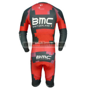 2014 Team BMC Long Sleeves Triathlon Cycling Outfit Skinsuit Red Black
