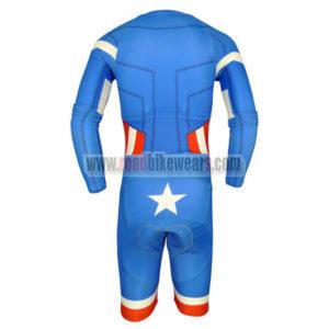 2015 Captain America Long Sleeves Triathlon Riding Wear Skinsuit Blue