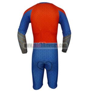 2015 Superman Long Sleeves Triathlon Cycle Uniform Skinsuit Blue Red