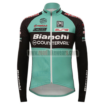 2016 Team Bianchi COUNTERVAIL Cycling Long Jersey Maillot Black Green 9195bdd5d