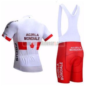 2017 Team AG2R LA MONDIALE CANADA Riding Bib Kit White Red