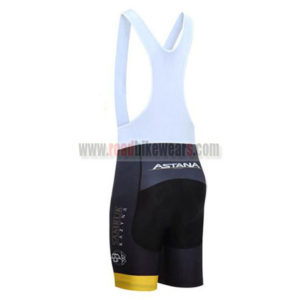 2017 Team ASTANA Racing Bib Shorts Bottoms Black Yellow