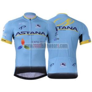 2017 Team ASTANA Riding Jersey Maillot Shirt Blue Black
