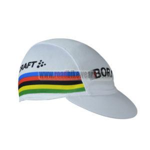 2017 Team BORA UCI Champion Riding Cap Hat White Rainbow