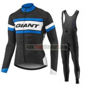 2017 Team GIANT Cycling Long Bib Suit Black White Blue