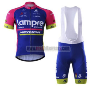 2017 Team Lampre MERIDA Cycling Bib Kit Blue Pink