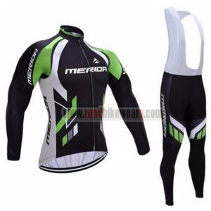 2017 Team MERIDA Biking Long Bib Suit Black White Green