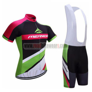 2017 Team MERIDA Cycle Bib Kit Black Green Red