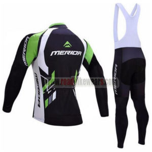 2017 Team MERIDA Cycle Long Bib Suit Black White Green