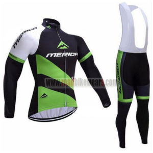2017 Team MERIDA Cycling Long Bib Suit Black Green