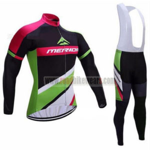 2017 Team MERIDA Cycling Long Bib Suit Black Green Pink