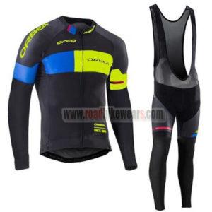 2017 Team ORBEA Winter Riding Wear Thermal Fleece Biking Long Sleeves Jersey  and Padded Bib Pants Tights Roupas De Ciclismo Black Blue Yellow 20624d028