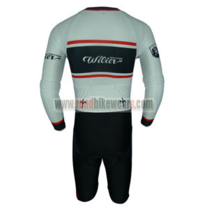 2017 Team Wie Long Sleeves Triathlon Riding Clothing Skinsuit White Black