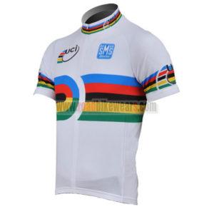 2010 Team Santini UCI Champion Biking Jersey Maillot Shirt White Rainbow