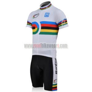 2010 Team Santini UCI Champion Biking Kit White Rainbow