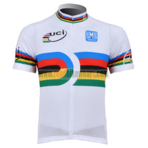 2010 Team Santini UCI Champion Cycling Jersey Maillot Shirt White Rainbow  ... 9519454d7