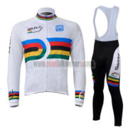 2010 Team Santini UCI Champion Cycling Long Bib Suit White Rainbow