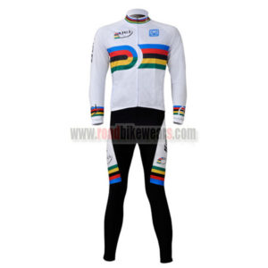 2010 Team Santini UCI Champion Riding Long Suit White Rainbow