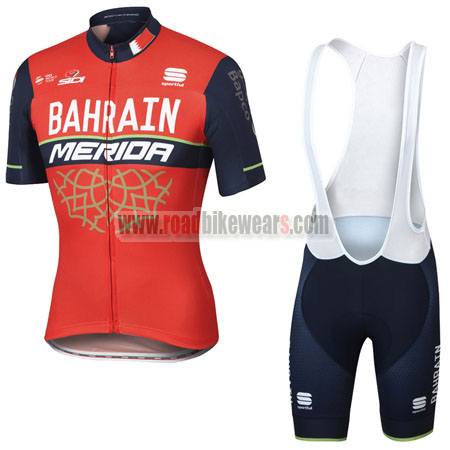 2017 Team BAHRAIN MERIDA Cycle Bib Kit Red