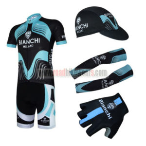 2017 Team BIANCHI Cycling Combo Set Black Blue 5-pieces