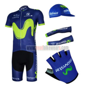 2017 Team Movistar Bike Riding Apparel Set Cycle Jersey and Padded Bib  Shorts+Cap+Gloves+Arm Sleeves Blue 4f63899a3