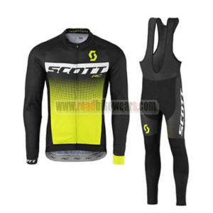 2017 Team SCOTT Cycling Long Bib Suit Black White Yellow