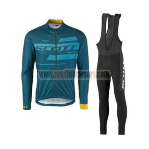 2017 Team SCOTT Cycling Long Bib Suit Blue