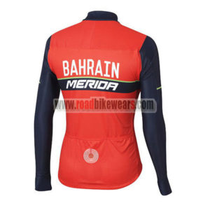 2017 Team BAHRAIN MERIDA Biking Long Jersey Red Blue