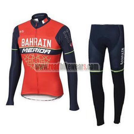 2017 Team BAHRAIN MERIDA Cycle Long Suit Red Blue