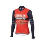 2017 Team BAHRAIN MERIDA Cycling Long Jersey Red Blue