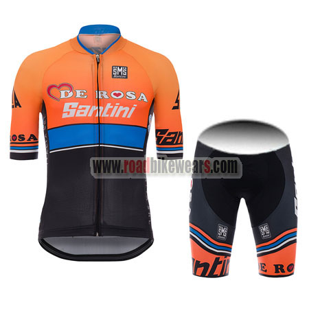 90f566085 2017 Team DE ROSA Santini Riding Uniform Cycle Jersey and Padded ...