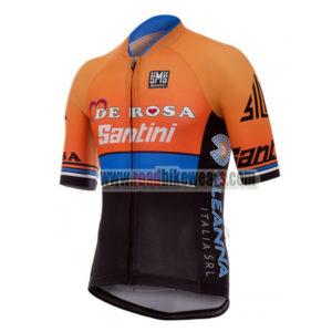 2017 Team DE ROSA Santini Biking Jersey Maillot Shirt Orange Blue Black