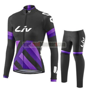 2017 Team Liv Womens Lady Cycle Long Suit Black Purple
